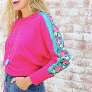 Free People Wallflower Embroidered Sleeve Sweater
